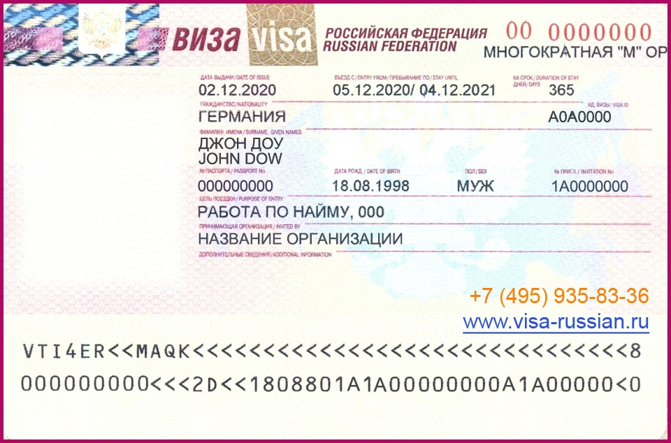 виза рабочая в россию